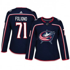 Women's Columbus Blue Jackets #71 Nick Foligno Navy Adizero Player Home Jersey