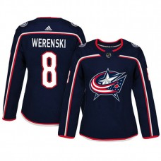 Women's Columbus Blue Jackets #8 Zach Werenski Navy Adizero Player Home Jersey