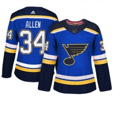 Women's St. Louis Blues #34 Jake Allen Blue Adizero Player Home Jersey