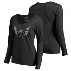 Women s Washington Capitals Fanatics Branded Long Sleeve V-Neck T-shirt  Black 8b54cdb2e