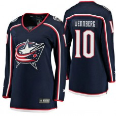Women's #10 Alexander Wennberg Navy Breakaway Player Jersey Columbus Blue Jackets