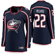 Women's #22 Sonny Milano Navy Breakaway Player Jersey Columbus Blue Jackets