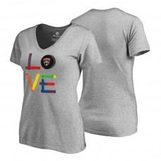 Women's Florida Panthers Heather Gray Hockey Is For Everyone Love Square Short Sleeve T-shirt
