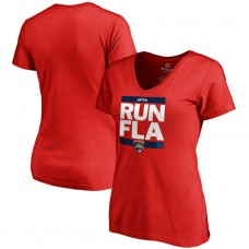 Women's Florida Panthers Red RUN-CTY V-Neck T-shirt