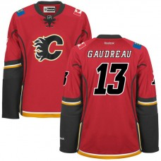 Women's Flames #13 Johnny Gaudreau Red Premier Home Jersey