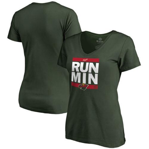 Women s Minnesota Wild Green RUN-CTY V-Neck T-shirt 444bb96cdf