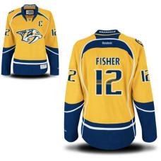Women's Nashville Predators #12 Mike Fisher Gold Home Premier Captain Jersey