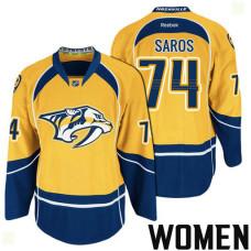 Women's Nashville Predators #74 Juuse Saros Gold 2017 Stanley Cup Playoff Participant Team Home Jersey