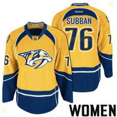 Women's Nashville Predators #76 P.K. Subban Gold 2017 Stanley Cup Playoff Participant Team Home Jersey