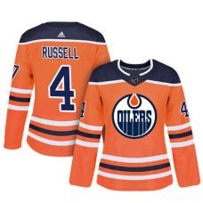Women's Edmonton Oilers #4 Kris Russell Orange Adizero Player Home Jersey