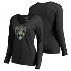 Women's Florida Panthers Fanatics Branded Long Sleeve V-Neck T-shirt Black
