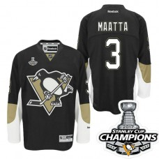 Women's Pittsburgh Penguins #3 Olli Maatta Black Stanley Cup Champions Home Throwback Jersey