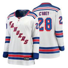 Women's New York Rangers #28 Paul Carey Fanatics Branded Breakaway White Away jersey