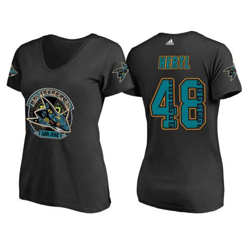 11e261dd1 Women s San Jose Sharks Black Tomas Hertl  48 Los Tiburones  Night T-shirt