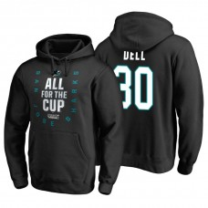 San Jose Sharks #30 Aaron Dell 2018 Stanley Cup Playoffs Black Hoodie