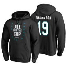 San Jose Sharks #19 Joe Thornton 2018 Stanley Cup Playoffs Black Hoodie