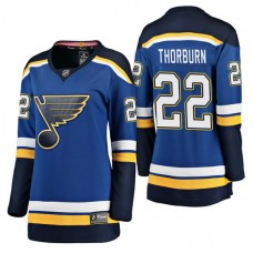 Women's #22 Chris Thorburn Blue Breakaway Player Jersey St. Louis Blues