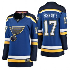 Women's #17 Jaden Schwartz Blue Breakaway Player Jersey St. Louis Blues