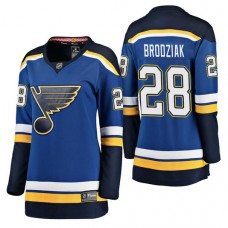 Women's #28 Kyle Brodziak Blue Breakaway Player Jersey St. Louis Blues