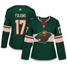 Women's Minnesota Wild #17 Marcus Foligno Green Adizero Player Home Jersey