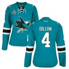 Women's San Jose Sharks Brenden Dillon #4 Teal 2016 Stanley Cup Home Final Bound Jersey