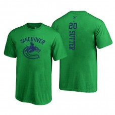 Vancouver Canucks #20 Brandon Sutter Kelly Green 2018 Fanatics Branded Backer T-shirt
