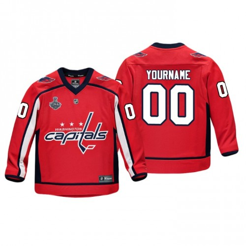 Youth Washington Capitals  00 Custom 2018 Stanley Cup Final Player Red  Custom Jersey d7224732a