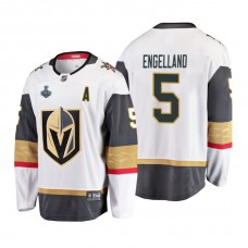 Youth Vegas Golden Knights #5 Deryk Engelland 2018 Stanley Cup Final Breakaway Road White Jersey