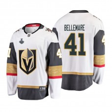 Youth Vegas Golden Knights #41 Pierre-Edouard Bellemare 2018 Stanley Cup Final Breakaway Road White Jersey