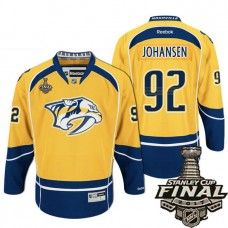 Youth Nashville Predators Gold Ryan Johansen #92 Premier Home Jersey With 2017 Stanley Cup Final Patch