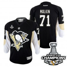 Youth Pittsburgh Penguins #71 Evgeni Malkin Black Stanley Cup Champions Home Throwback Jersey