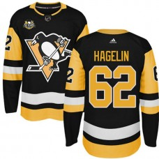Youth Pittsburgh Penguins #62 Carl Hagelin Black Adidas Home Premier Jersey