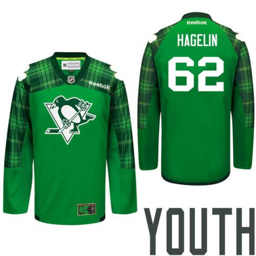 super cute 7b06e 515ed Youth Pittsburgh Penguins #62 Carl Hagelin Green St. Patrick ...