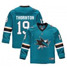 Youth San Jose Sharks #19 Joe Thornton Teal 2018 New Season Home Jersey