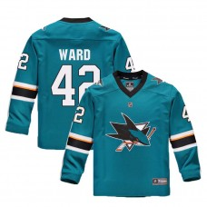 Youth San Jose Sharks #42 Joel Ward Teal 2018 New Season Home Jersey