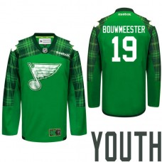 Youth St. Louis Blues #19 Jay Bouwmeester Green St. Patrick Day Premier Jersey