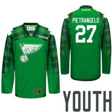 Youth St. Louis Blues #27 Alex Pietrangelo Green St. Patrick Day Premier Jersey