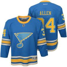 Youth St. Louis Blues #34 Jake Allen Blue Premier Jersey
