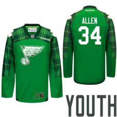 Youth St. Louis Blues #34 Jake Allen Green St. Patrick Day Premier Jersey