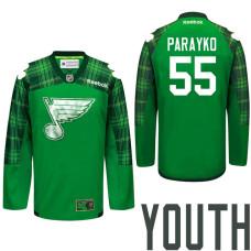 Youth St. Louis Blues #55 Colton Parayko Green St. Patrick Day Premier Jersey