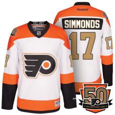 Youth Wayne Simmonds  17 Philadelphia Flyers White Orange Premier 50th  Anniversary Player Jersey 621f0381f