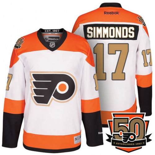 Youth Wayne Simmonds  17 Philadelphia Flyers White Orange Premier 50th  Anniversary Player Jersey 5f5228ba652