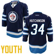 Youth Winnipeg Jets #34 Michael Hutchinson Navy Blue Home Premier Player Jersey