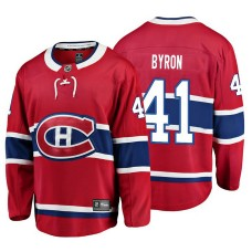 Youth Montreal Canadiens #41 Paul Byron Red Home Breakaway Player Jersey