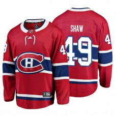 Youth Montreal Canadiens #49 Logan Shaw Red Home Breakaway Player Jersey