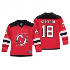 Youth New Jersey Devils Drew Stafford #18 Red Replica Player Home Jersey