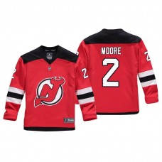 Youth New Jersey Devils John Moore #2 Red Replica Player Home Jersey