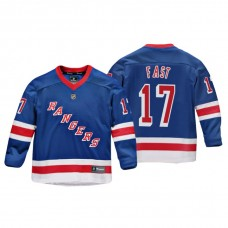 Youth New York Rangers Jesper Fast #17 Royal Replica Player Home Jersey