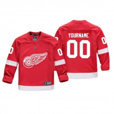 Youth Detroit Red Wings #00 Red Replica Player Home Custom Jersey