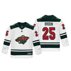 Youth Minnesota Wild Jonas Brodin #25 White Replica Player Fanatics Branded Jersey